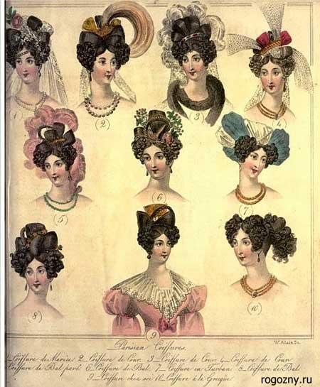 Прически в стиле   романтизма - 30-е годы XIX века