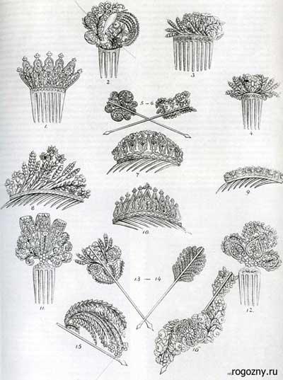 Гребни и шпильки. Рисунки из модного журнала 1832 г